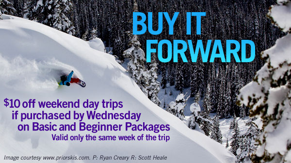 <p>Purchase our popular Basic or Beginner Package by the Wednesday before our next weekend trips and earn a $10 discount on a Basic or Beginner Packages.  </p>